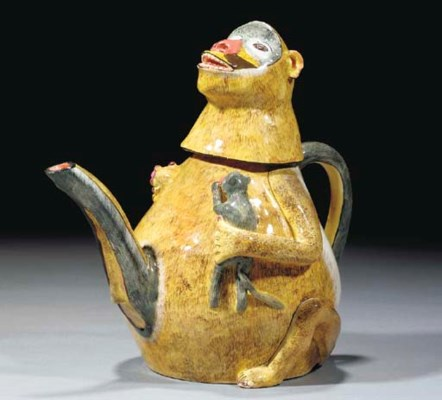 A Monkey Teapot and Cover