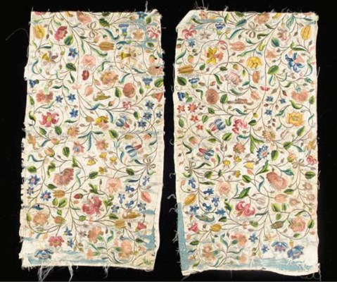 A pair of needlework panels, p