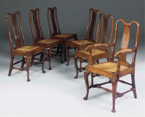 A SET OF SIX OAK, BURR-OAK AND
