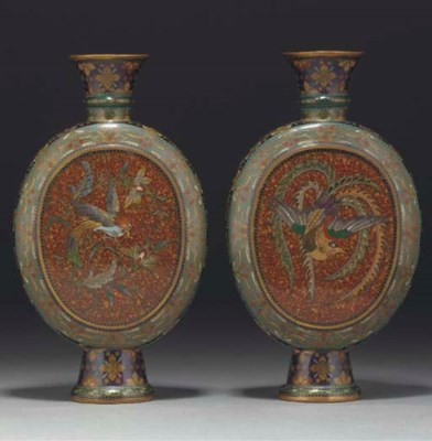 A pair of Japanese cloisonne f