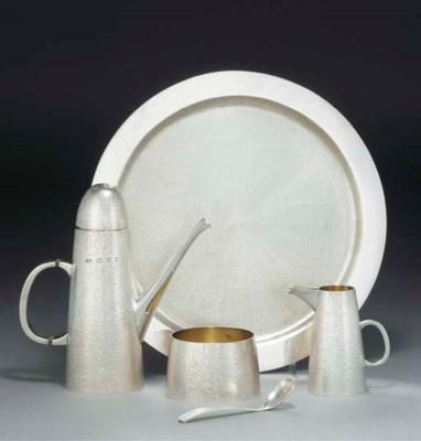 A Five-Piece Modern Silver Cof