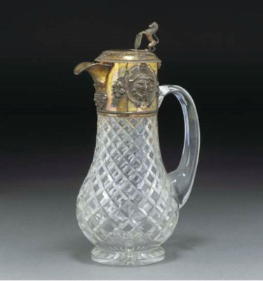 A SILVER-GILT MOUNTED GLASS CL