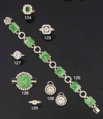 An Art Deco jadeite bracelet