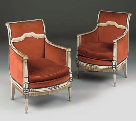 A PAIR OF PAINTED BERGERES
