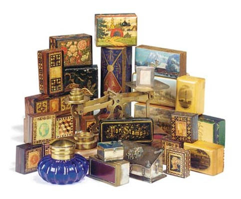A collection of stamp boxes