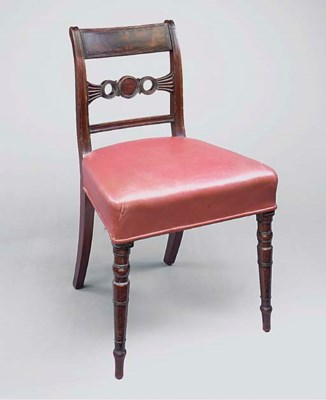 A SET OF FOUR MAHOGANY AND RED