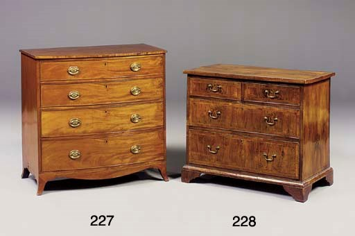 A MAHOGANY BOW FRONT CHEST OF