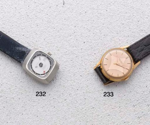 Movado: A pink gilt and steel