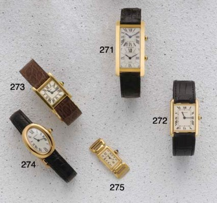 Cartier: An 18ct Gold Curved R