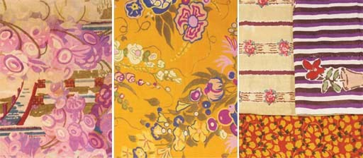A group of printed textiles, i