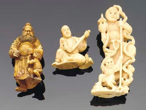 Three Japanese ivory okimono,