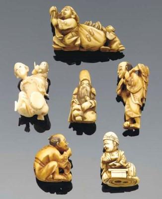 A group of six Japanese ivory