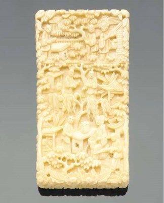A Cantonese ivory card case an
