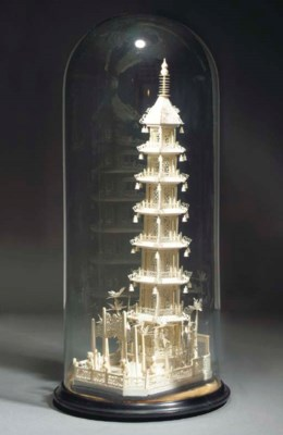 A large Chinese ivory model of