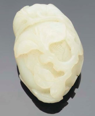 A Chinese fruit form white jad
