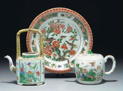 A Chinese famille verte barrel
