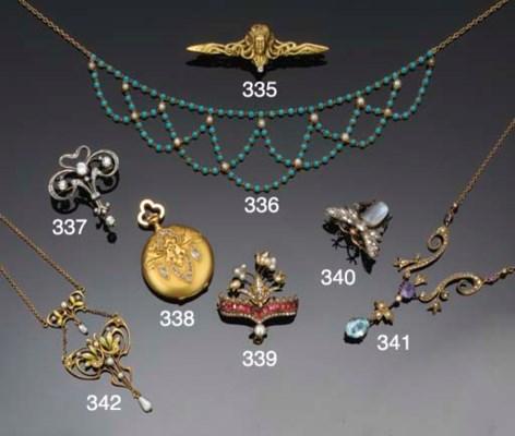 An Art Nouveau diamond brooch