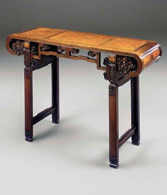 A CHINESE ROSEWOOD AND AMBOYNA
