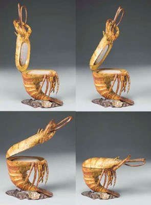 A CARVED AND DECORATED LOBSTER