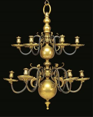 A brass twelve light chandelie