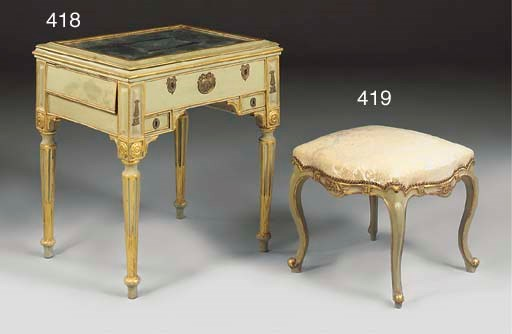 A GILT AND GREEN PAINTED STOOL