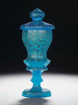 A Bohemian blue 'alabaster' go