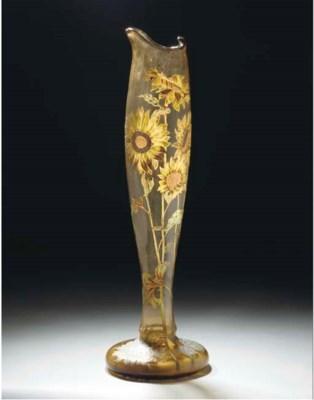 A LARGE ENAMELLED GLASS VASE