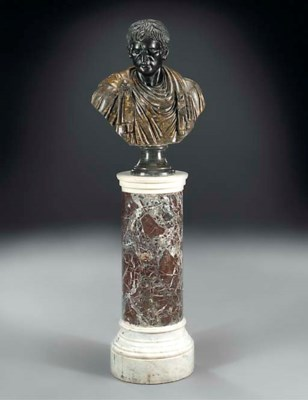 A sculpted marble togate bust