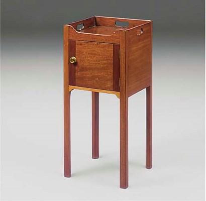 A mahogany tray top commode