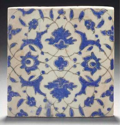An Isfahan pottery tile, Centr