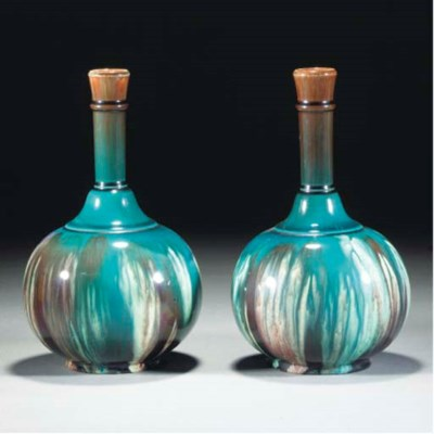 A Pair of Ault Vases