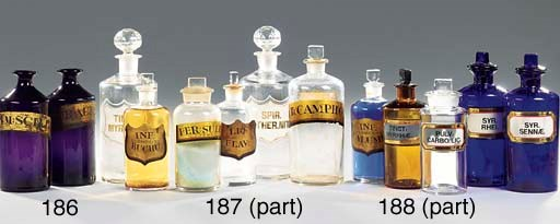 Eleven Victorian glass pharmac