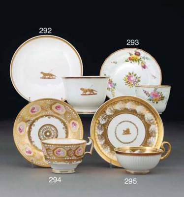 A Swansea crested teacup and s