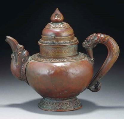 A Tibetan copper ewer, 19th Ce