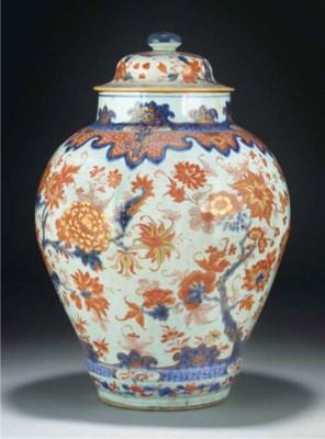 A Chinese Imari baluster jar a