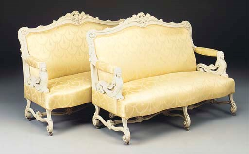A PAIR OF FRENCH PAINTED SOFAS