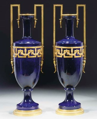 A pair of French faience blue-