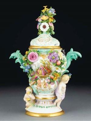 A Meissen flower-encrusted vas