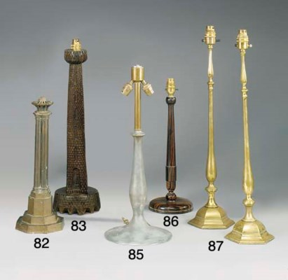 A PEWTER BALUSTER TABLE LAMP