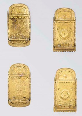 TWO PAIRS OF REPOUSSE BRASS TW
