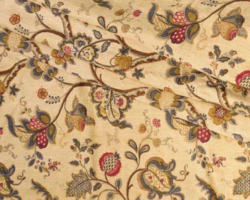 TWO PAIRS OF COTTON CHINTZ CUR