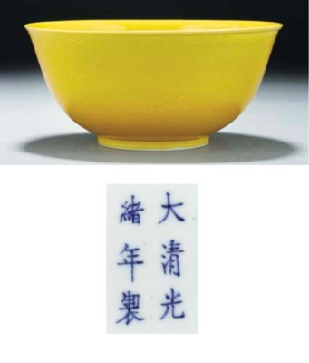 A yellow glazed bowl, Guangxu