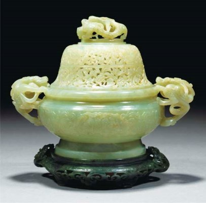A celadon jade censer and cove