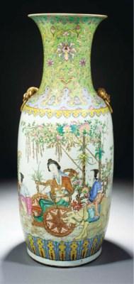 A large famille rose vase, 19t