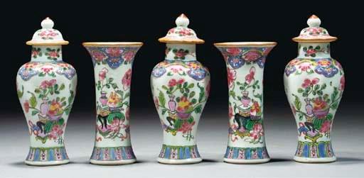 A famille rose miniature five-