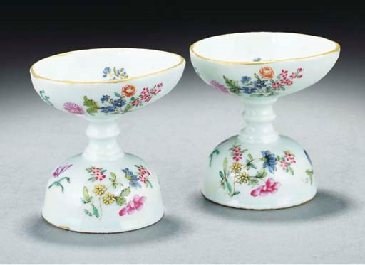 A pair of famille rose stemmed