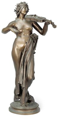 A FRENCH BRONZE FIGURE OF A SC