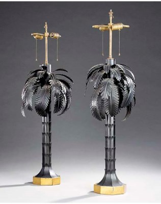 A PAIR OF BLACK AND GILT TOLE