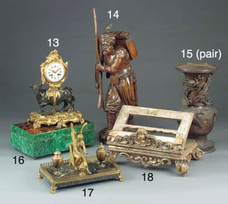 A Spanish carved, gilt and sil