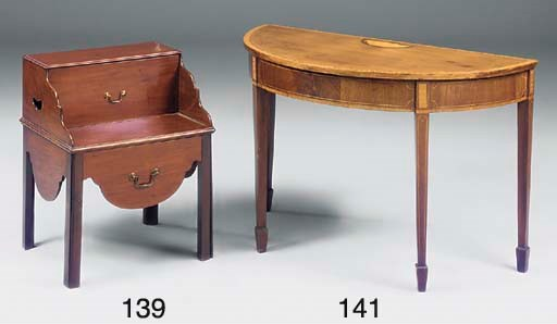 A mahogany and inlaid demi-lun